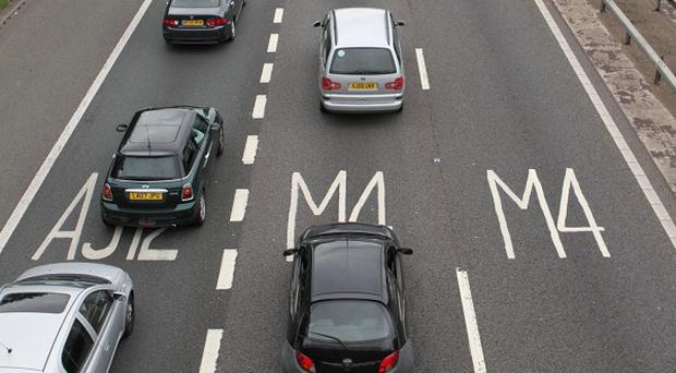 The M4 motorway was closed westbound between junctions 1 and 3 due to a vehicle fire