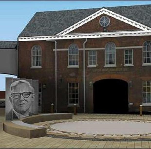 A computer-generated image of the proposed tribute to Bill Tutte on Rutland Hill in Newmarket