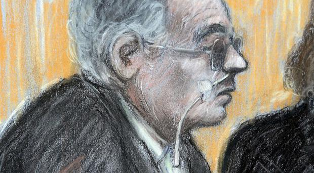 Court artist sketch by Elizabeth Cook of Moors Murderer Ian Brady appearing via video at his mental health tribunal