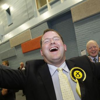 SNP candidate Mark McDonald celebrates at the Aberdeen Donside by-election count