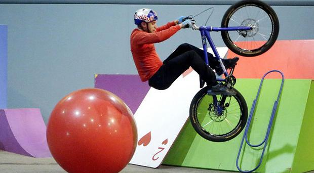 Danny MacAskill on the set of his new film Imaginate at the Kelvin Hall in Glasgow