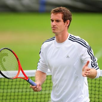 Andy Murray during a practice session at Wimbledon