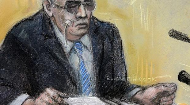 A court artist sketch of moors murderer Ian Brady appearing via video link at Manchester Civil Justice Centre (Elizabeth Cook/PA)