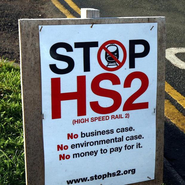A Stop HS2 campaign sign at the roadside in Drayton Bassett, Staffordshire