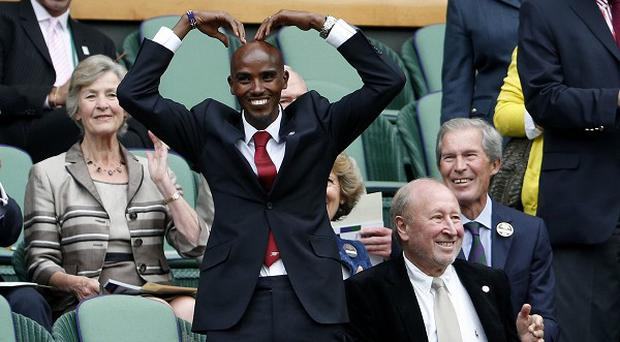 Mo Farah was in the Royal Box on Centre Court during day three of the Wimbledon Championships