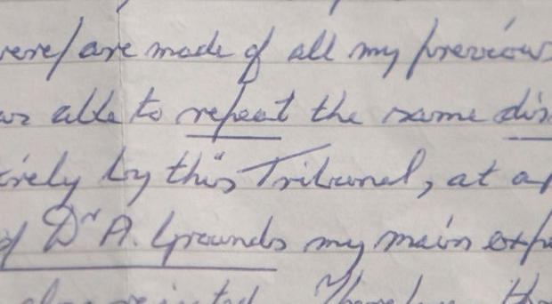 Extracts from a 700-word letter penned by Moors Murderer Ian Brady (Channel 5 News/PA)