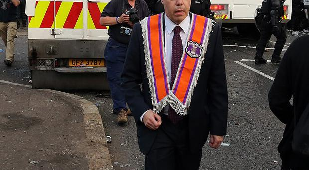 Nigel Dodds MP, for north Belfast, pictured prior to being injured during violence scenes