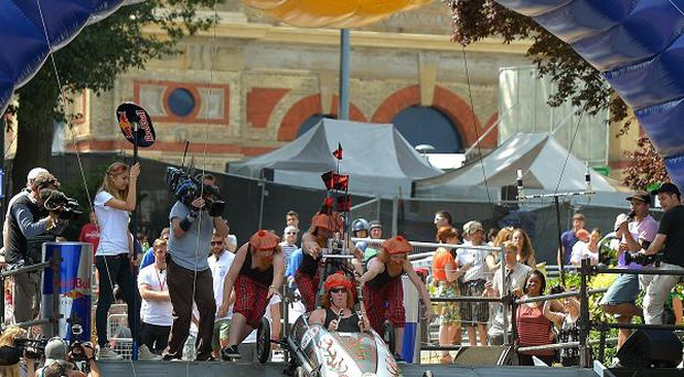 Thousands turned out to watch 70 soapboxes take part in the Red Bull Soapbox Race in London