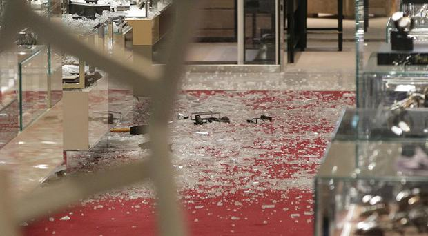 Broken glass was left strewn across the floor at Selfridges following the smash and grab raid last month