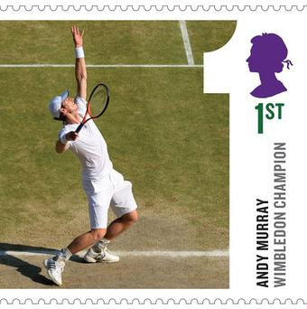 One of the stamps commemorating Andy Murray's Wimbledon win