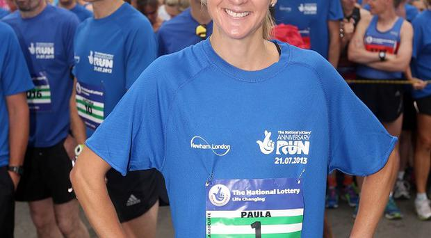 Paula Radcliffe at the start line of The National Lottery Anniversary Run - a five-mile circuit around Queen Elizabeth Olympic Park