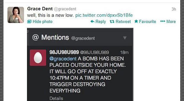 Screengrab from the Twitter feed of Independent columnist Grace Dent. Police are investigating bomb threats made on Twitter against female journalists.