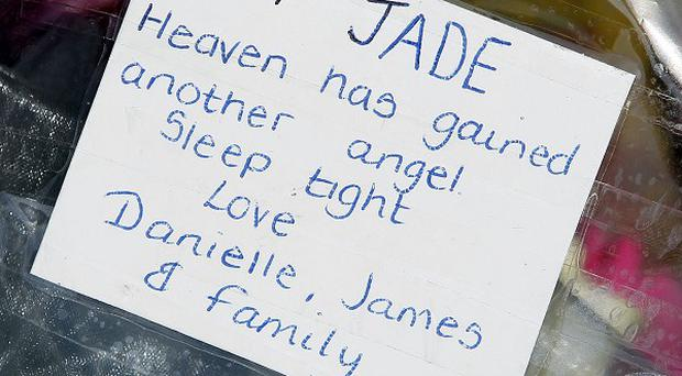 A tribute to 14-year-old Jade Anderson who was killed by four dogs near Wigan, Greater Manchester, in March