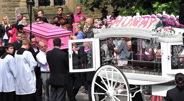 Mourners attend the funeral of murdered mother Linzi Ashton, at St Paul's Church in Salford