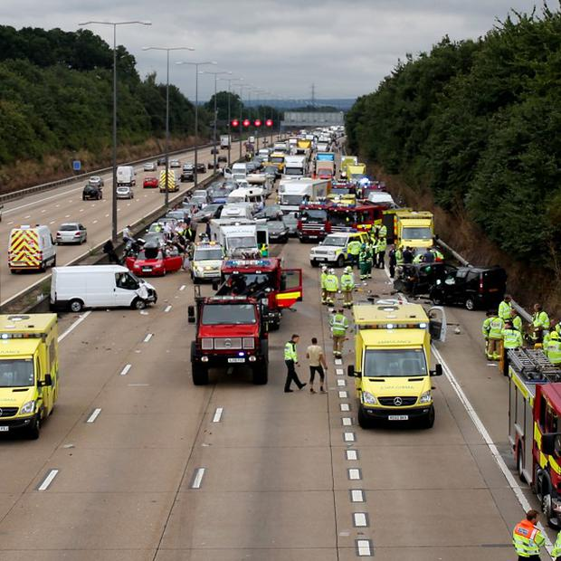 Delays are expected after a collision on the clockwise section of the M25 Surrey, between junction 10 and junction 11