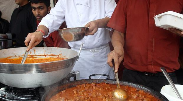 Food stalls in Trafalgar Square in London at an event to celebrate Eid