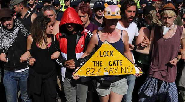 Anti-fracking protesters near a site in West Sussex