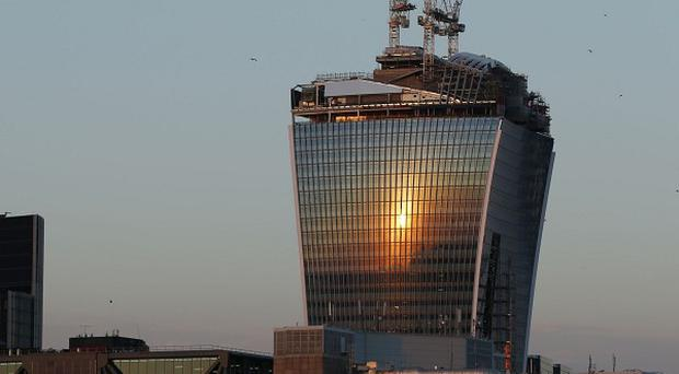 The 37-storey skyscraper at 20 Fenchurch Street is still under construction