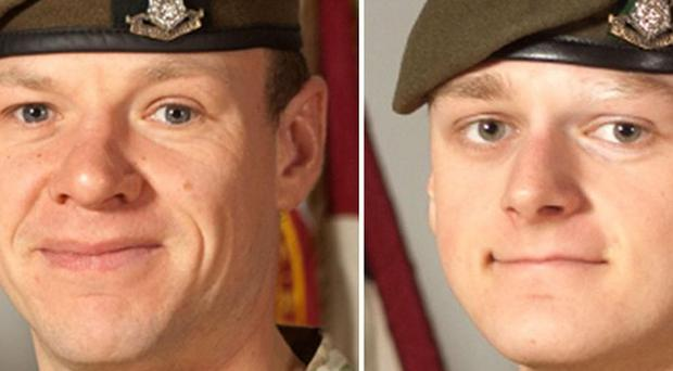 Sgt Gareth Thursby, left, and Pte Thomas Wroe were shot in Afghanistan (MoD/PA)