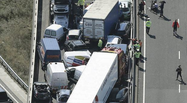 A section of the pile-up on the carriageway