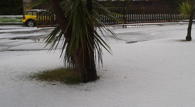 The aftermath of an intense hail storm which turned part of Falmouth into a winter landscape (PA)