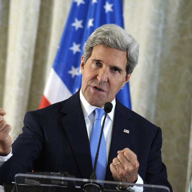 US secretary of state John Kerry will hold talks in London with Foreign Secretary William Hague over Syria (AP)