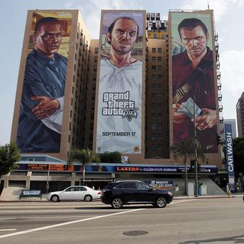 The Grand Theft Auto V billboard at Figueroa Hotel in Los Angeles