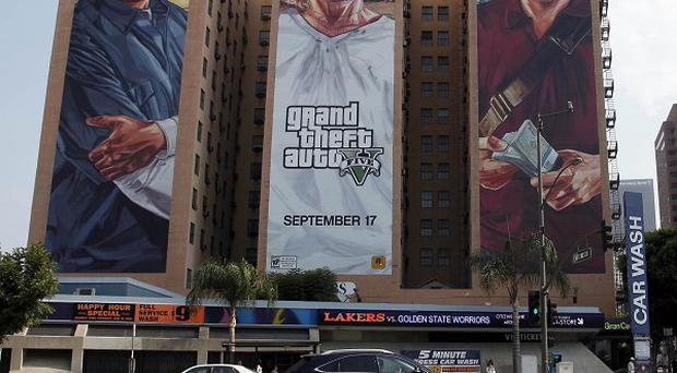 The Grand Theft Auto V billboard at Figueroa Hotel in Los Angeles (AP)