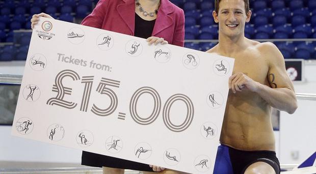 Swimmer Michael Jamieson and Scotland's Deputy First Minister Nicola Sturgeon marked the start of ticket sales for the Commonwealth Games