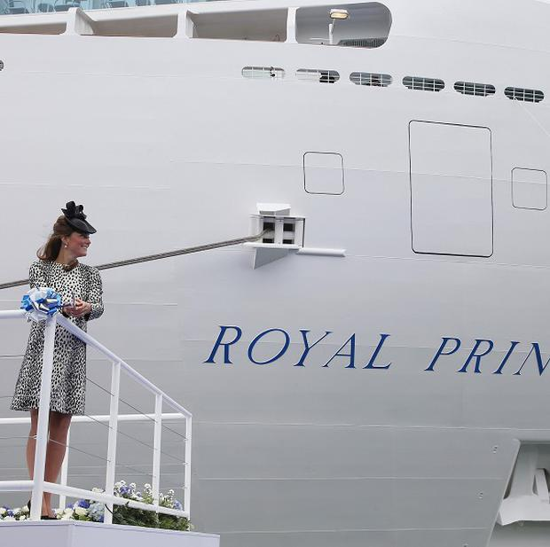The Duchess of Cambridge cuts the ribbon during the ceremony where she named Princess Cruises' newest ship, Royal Princess