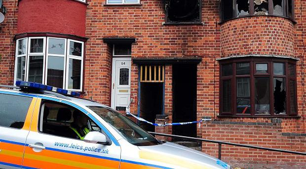 The scene of the fire in Wood Hill, Leicester