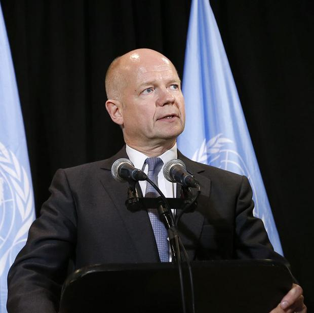 William Hague announced Britain had pledged a three million-dollar contribution to the intergovernmental body which works to ban chemical weapons (AP/Jason DeCrow)