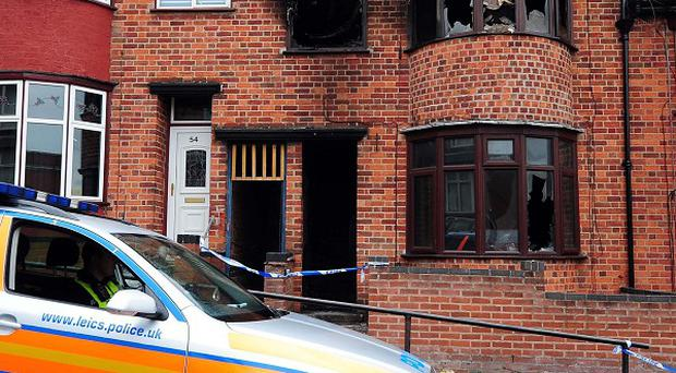 The scene of the fatal house fire in Wood Hill, Leicester