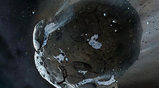 The shattered remains of an asteroid which contained huge amounts of water and orbited an exhausted star, located 150 light years away from Earth