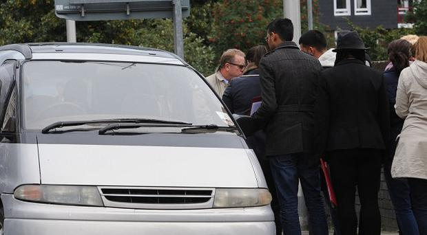 The jury in the inquest into the death of Mark Duggan visit the scene of his shooting in Tottenham, north London including a car similar to the taxi Duggan was travelling in.