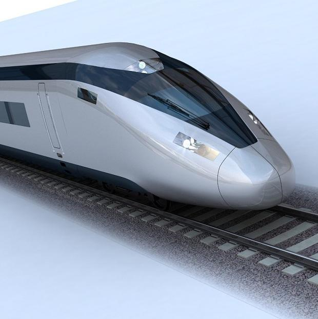 An image of the potential HS2 train design, as the Government revealed a key section of the high-speed rail line, in west London, will run in a tunnel
