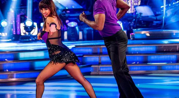 Embargoed to 2015 Saturday October 19. For use in UK, Ireland or Benelux countries only. BBC handout photo of Anya Garnis and Patrick Robinson performing during rehearsals for the BBC programme Strictly Come Dancing.