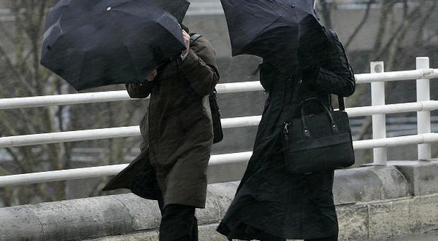 Winds in excess of 80mph could lead to power cuts and transport disruption during rush hour on Monday morning