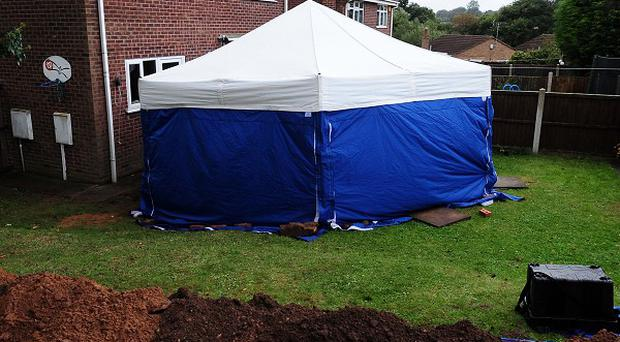 The scene in Blenheim Close, Forest Town, near Mansfield, where the remains of two people were found