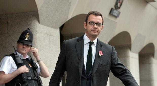 Former News of the World Editor Andy Coulson at the Old Bailey in London as his phone hacking trial continues.