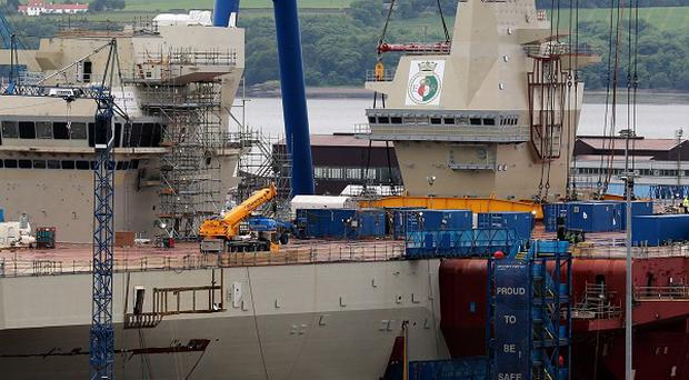 The HMS Queen Elizabeth is currently under construction at the Rosyth Dockyard in Fife