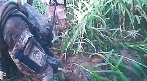 Footage was captured by a camera mounted on the helmet of a Royal Marine