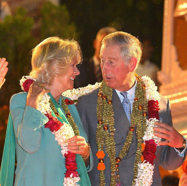 The Prince of Wales and Duchess of Cornwall are visiting a Hindu temple in New Delhi