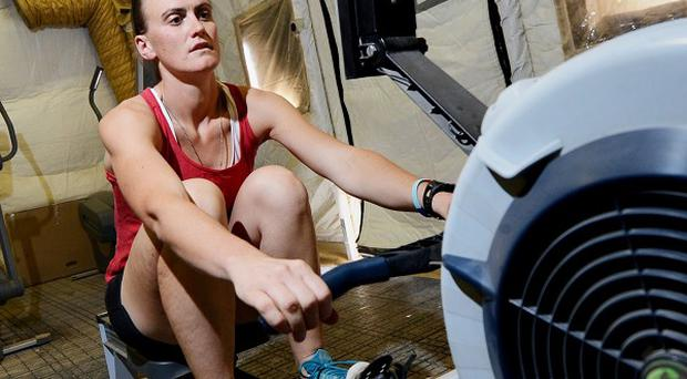 Heather Stanning trained on a rowing machine during her tour of duty in Afghanistan