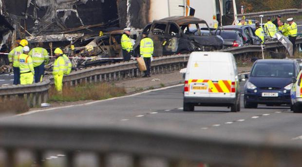 A general view of the scene on the M5 motorway close to Taunton