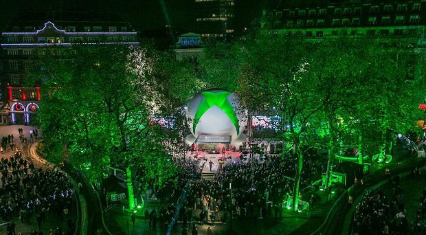 The launch site for the new Xbox One in Leicester Square, central London
