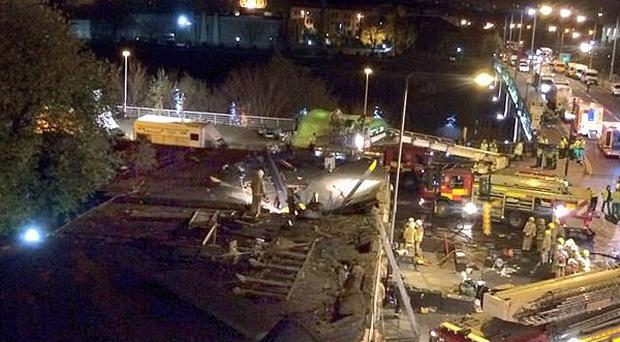 Photo from the Twitter feed of Rupert Morris as witnesses described how the helicopter crashed into the pub