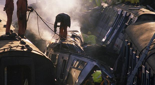 Thirty-five people were killed and 500 were injured when a crowded passenger train crashed into the rear of another train that had stopped at a signal in December 1988