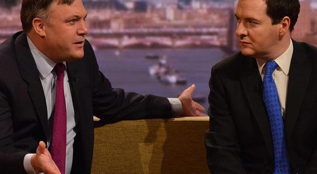 Shadow chancellor Ed Balls (left) and Chancellor George Osborne appearing on BBC1's current affairs programme, The Andrew Marr Show.