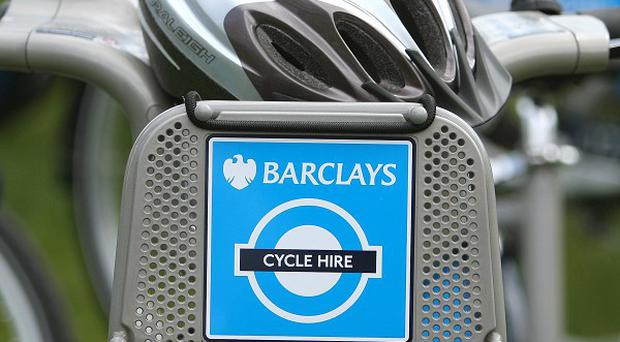 File photo dated 28/5/2010 of a logo on a Barclays Cycle Hire bike. Barclays is to end its sponsorship of the so-called Boris Bikes, introduced by London Mayor Boris Johnson to the capital in 2010.